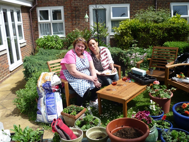 Gardening in the sun at The Spinney